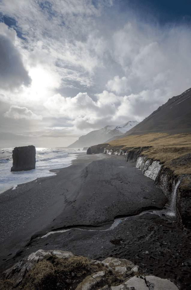 Waterfall from roadside, Iceland