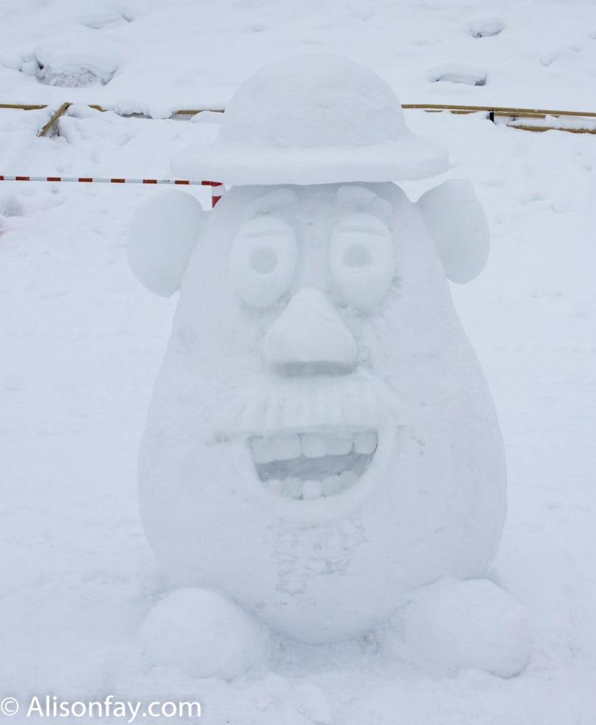 Mr Potato Head Snow Sculpture at the 59th Asahikawa Snow Festival