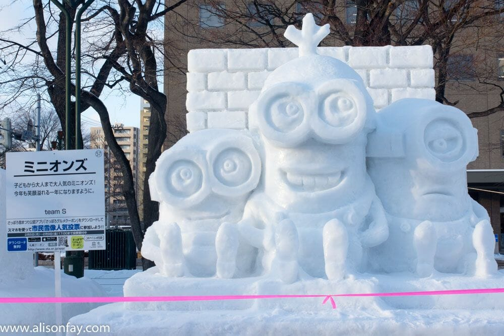 Minion's Ice Sculpture at the Sapporo Snow Festival