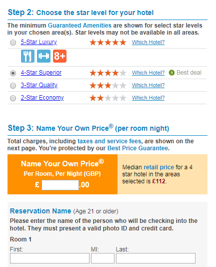 Bidding for a hotel room on Priceline.com