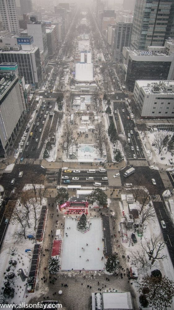 View over Odori Park during the Sapporo Snow Festival