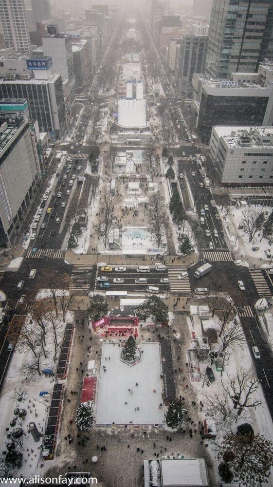 View over Odori Park during the Sapporo Snow Festival