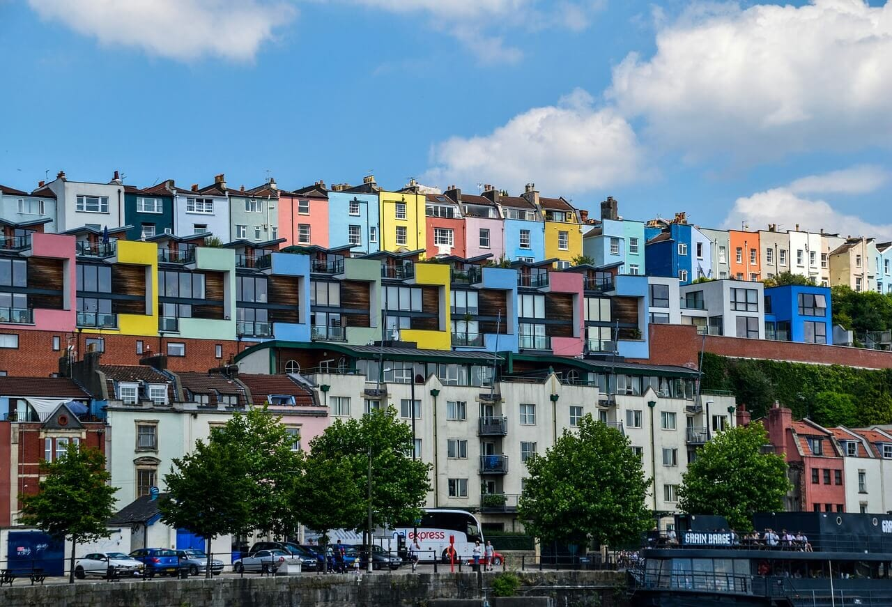 Photograph of Bristol's Colorful Houses, Bristol Travel Photography