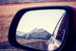 Mountain reflection in a wingmirror, in Iceland