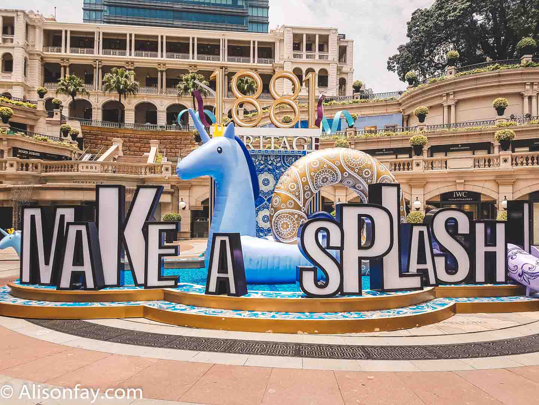 """Make a splash"" inflatable unicorn rubber ring display in Hong Kong"