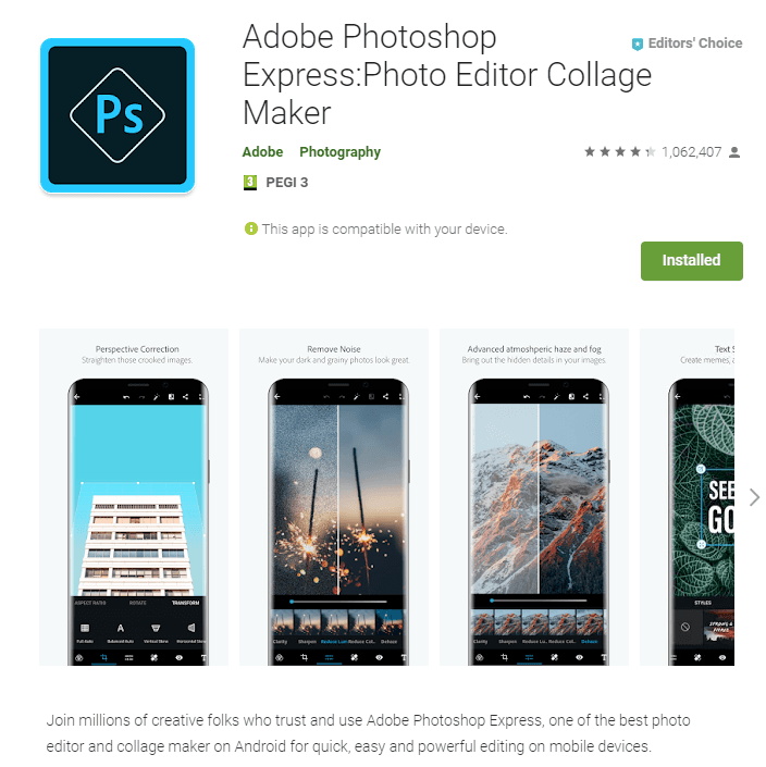 Adobe Photoshop Express on the Google Play Store