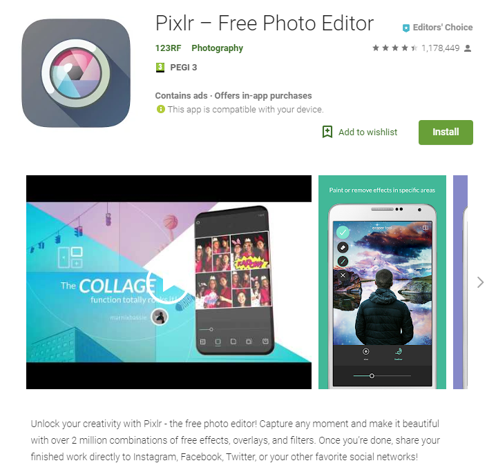Screenshot of Pixlr app page on Google Play