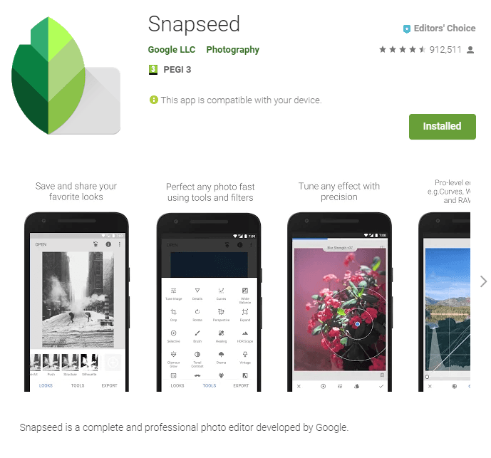 Screenshot of Snapseed app page on Google Play