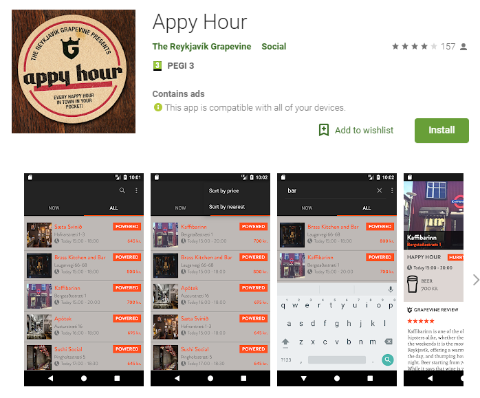 Appy Hour, happy hour finder for Reykjavík