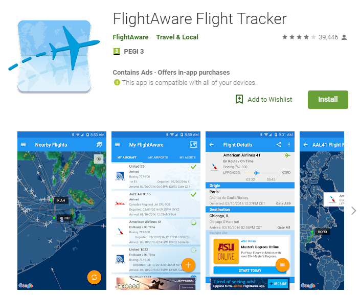 Flightaware travel app