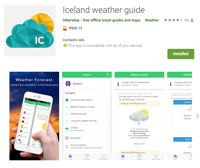 Iceland Weather guide app for your journey around Iceland