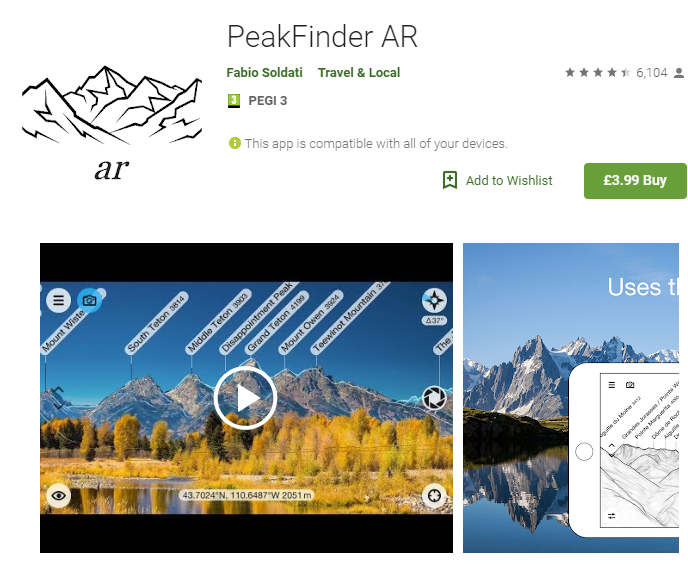 Peakfinder AR, Hiking and travel app