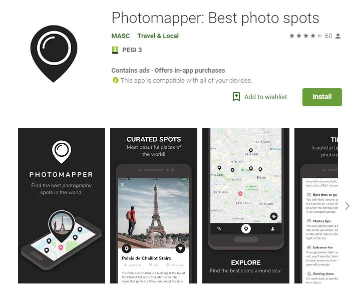 Photomapper, photo spot finder for travelling