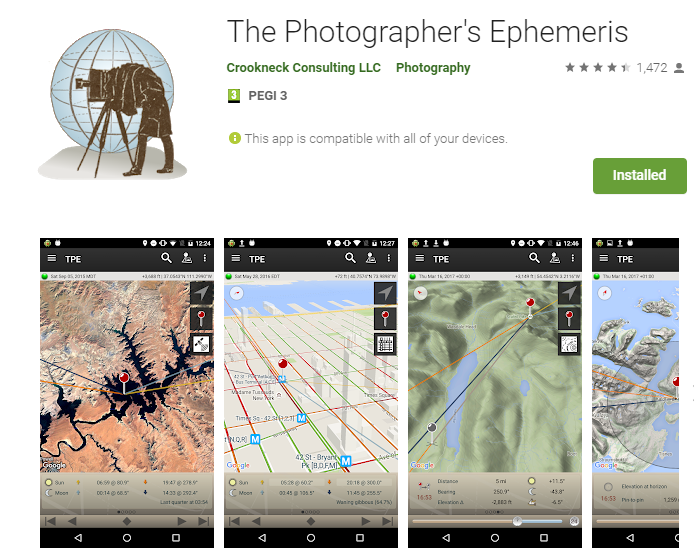 The Photographer's Ephemeris, photography app