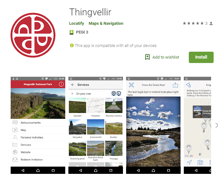 Thingvellir national park, Iceland travel app
