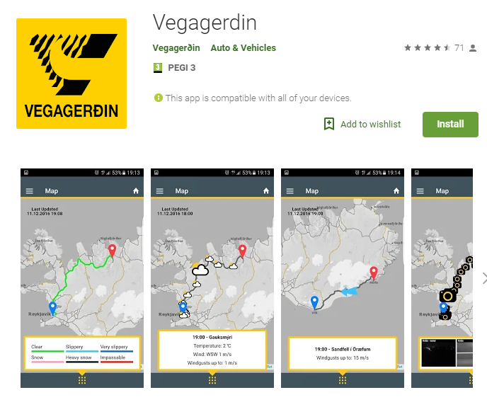 Vegagerdin Road Safety App for Roadtripping in Iceland
