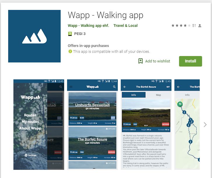 Wapp Walking Trail App for Roadtripping in Iceland