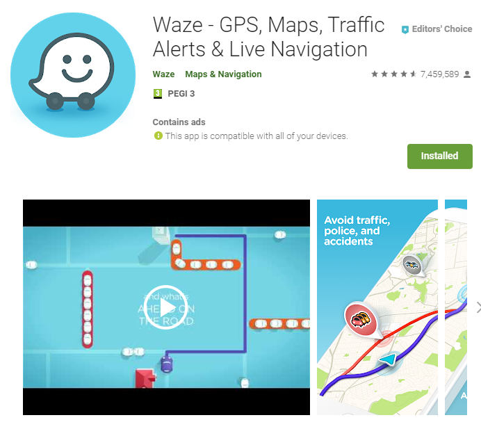 Waze Maps GPS Navigation App for travelling